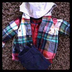 0-3 month flannel Henley pants